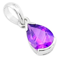 2.70cts natural purple amethyst 925 sterling silver pendant jewelry p73665