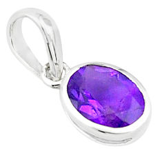 2.64cts natural purple amethyst 925 sterling silver pendant jewelry p73707