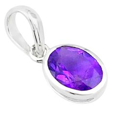 3.01cts natural purple amethyst 925 sterling silver pendant jewelry p73708