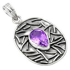 4.55cts natural purple amethyst 925 sterling silver pendant jewelry p78461