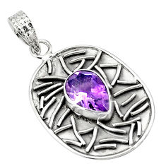 4.55cts natural purple amethyst 925 sterling silver pendant jewelry p78462