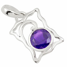 2.95cts natural purple amethyst 925 sterling silver pendant jewelry p82109