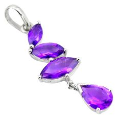 7.56cts natural purple amethyst 925 sterling silver pendant jewelry p82444