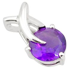 2.99cts natural purple amethyst 925 sterling silver pendant jewelry p82542