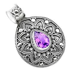 2.83cts natural purple amethyst 925 sterling silver pendant jewelry p86242