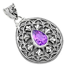 2.94cts natural purple amethyst 925 sterling silver pendant jewelry p86282