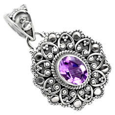 2.13cts natural purple amethyst 925 sterling silver pendant jewelry p86302