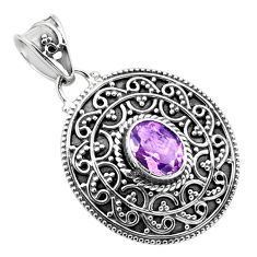 2.20cts natural purple amethyst 925 sterling silver pendant jewelry p86325