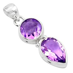10.77cts natural purple amethyst 925 sterling silver pendant jewelry p87995