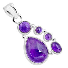 16.17cts natural purple amethyst 925 sterling silver pendant jewelry p89209