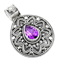 2.85cts natural purple amethyst 925 sterling silver pendant jewelry p90221