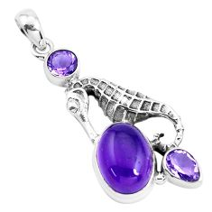 8.14cts natural purple amethyst 925 sterling silver seahorse pendant p41903