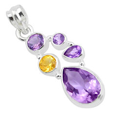 9.03cts natural purple amethyst citrine 925 sterling silver pendant p49826