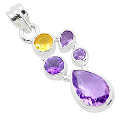 8.83cts natural purple amethyst citrine 925 sterling silver pendant p49829