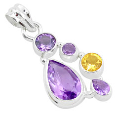 8.83cts natural purple amethyst citrine 925 sterling silver pendant p49832
