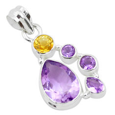 8.25cts natural purple amethyst citrine 925 sterling silver pendant p49840
