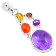 14.88cts natural purple amethyst cornelian (carnelian) 925 silver pendant p40406