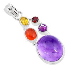 16.46cts natural purple amethyst cornelian (carnelian) 925 silver pendant p40413