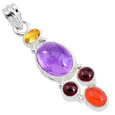 10.37cts natural purple amethyst cornelian (carnelian) 925 silver pendant p44001