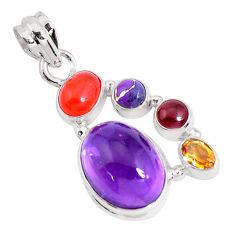 14.12cts natural purple amethyst cornelian (carnelian) 925 silver pendant p46801