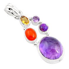 13.36cts natural purple amethyst cornelian (carnelian) 925 silver pendant p59127