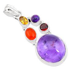 18.98cts natural purple amethyst cornelian (carnelian) 925 silver pendant p59129