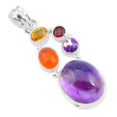 16.93cts natural purple amethyst cornelian (carnelian) 925 silver pendant p59130