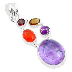 14.41cts natural purple amethyst cornelian (carnelian) 925 silver pendant p59133