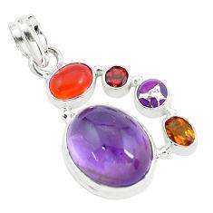 14.88cts natural purple amethyst cornelian (carnelian) 925 silver pendant p59161