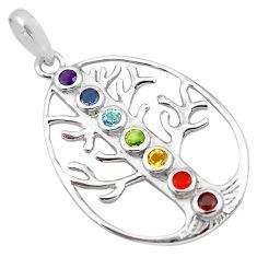 3.38cts natural purple amethyst cornelian 925 silver tree of life pendant p83770