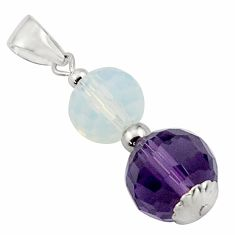 11.93cts natural purple amethyst opalite 925 sterling silver pendant c4475