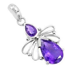 4.54cts natural purple amethyst pear 925 sterling silver pendant jewelry p36432