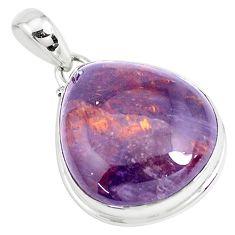 25.89cts natural purple cacoxenite super seven 925 silver pendant p39899