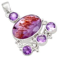 17.67cts natural purple cacoxenite super seven oval 925 silver pendant p88635