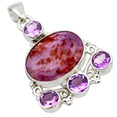 18.63cts natural purple cacoxenite super seven oval 925 silver pendant p88639