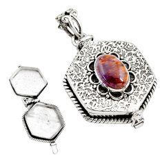 4.68cts natural purple cacoxenite super seven silver poison box pendant p80007