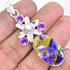 20.71cts natural purple charoite (siberian) 925 silver flower pendant d30959