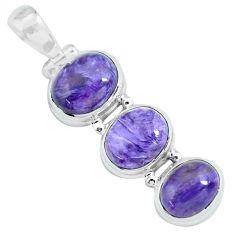 14.12cts natural purple charoite (siberian) 925 sterling silver pendant p67669