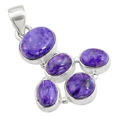 14.40cts natural purple charoite (siberian) 925 sterling silver pendant p78422