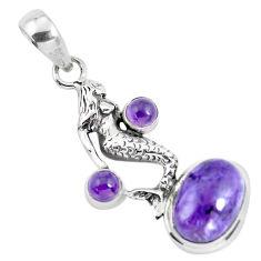 8.42cts natural purple charoite (siberian) silver fairy mermaid pendant p55165