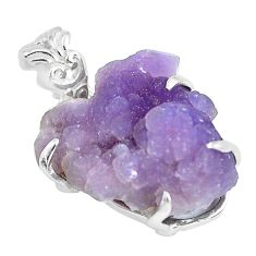 20.92cts natural purple grape chalcedony 925 sterling silver pendant p63436
