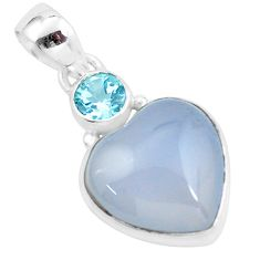 13.70cts natural purple grape chalcedony heart topaz 925 silver pendant p58748