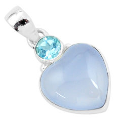 14.52cts natural purple grape chalcedony heart topaz 925 silver pendant p58752