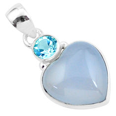 14.72cts natural purple grape chalcedony heart topaz 925 silver pendant p58754