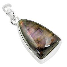 16.20cts natural purple labradorite spectrolite 925 silver pendant p80221