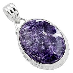 17.22cts natural purple lepidolite 925 sterling silver pendant jewelry p85522