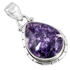 14.72cts natural purple lepidolite 925 sterling silver pendant jewelry p90494