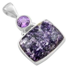 14.72cts natural purple lepidolite amethyst 925 sterling silver pendant p85556