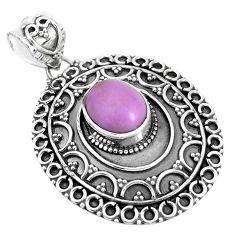 4.01cts natural purple phosphosiderite (hope stone) 925 silver pendant p33483
