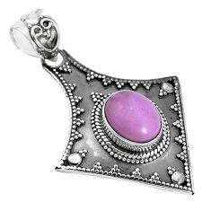 4.40cts natural purple phosphosiderite (hope stone) 925 silver pendant p33485